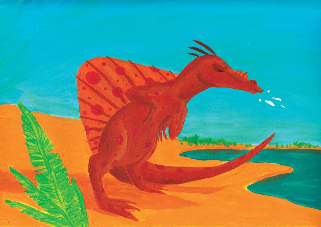 dipinto ad acrilico di un dinosauro a macchie che starnutisce